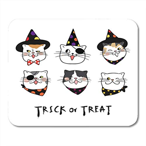 HZMJPAD Different Emotion Face of Cat for Halloween Day Draw Mouse Pad 8.6 X 7.1 in -