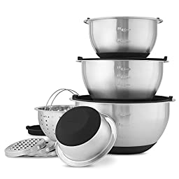 Wolfgang Puck Stainless-Steel Mixing Bowls with Lids, XL 12-Piece Set (X-large 12 pc set Black)