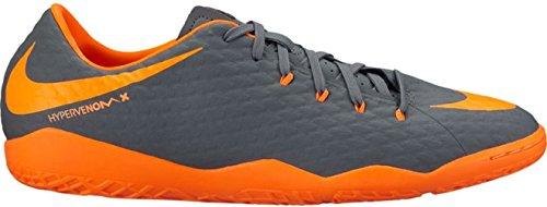 NIKE Mens Hypervenom PhantomX 3 Academy IC Indoor Soccer Shoes (Dark Grey, Total Orange)