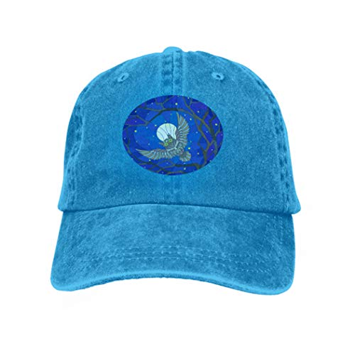 Cowboy Baseball Caps Unisex Trucker Style Hats Stained Glass owl Night Starry Sky Moon Branches Tree Style Blue (Iowa Stained Glass)