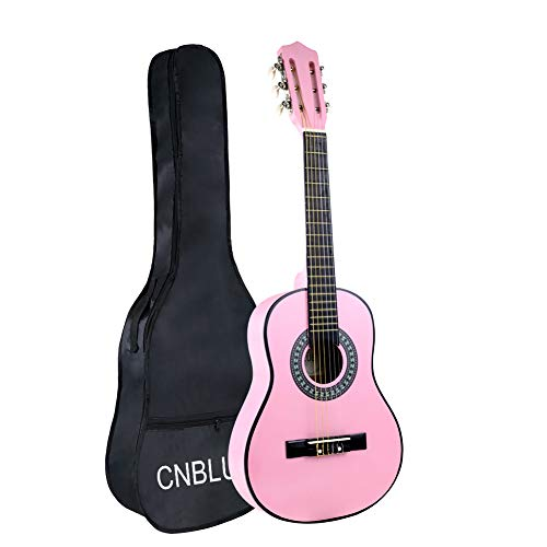 Classical Guitar Acoustic Guitar Kids 1/2 Size 30 inch Nylon Strings Guitar Starter Kits for Children Beginners Students (Pink)