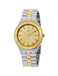 SWATCH WOMEN'S 37MM TWO TONE STEEL BRACELET STEEL CASE QUARTZ WATCH YGS473G
