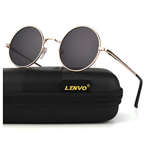 LINVO Retro Round Circle John Lennon Polarized Sunglasses Hippie for Men Women ()
