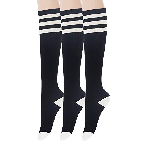 Sockstheway Womens Casual Knee High Tube Socks with Triple Stripes (3Pairs, Black)