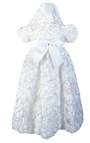 Angeline Baby Girls Christening Dress Baptism Flower Tulle Peony White Gown 0-6M (S)