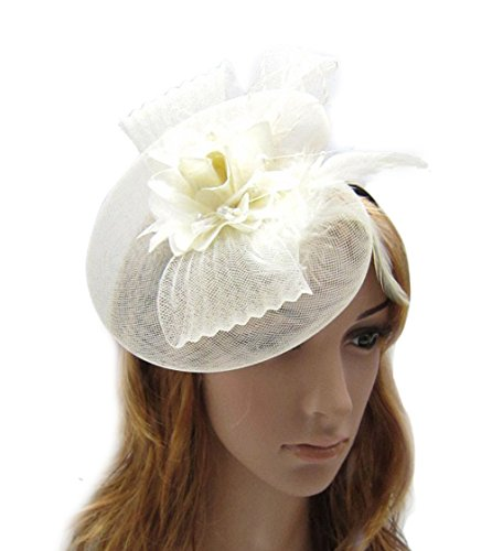 [Fascinator Hair Clip Head Hoop Headband Feather Rose Flower Derby Cocktail Party Wedding Women Beige] (1920s Flapper Hairstyles)