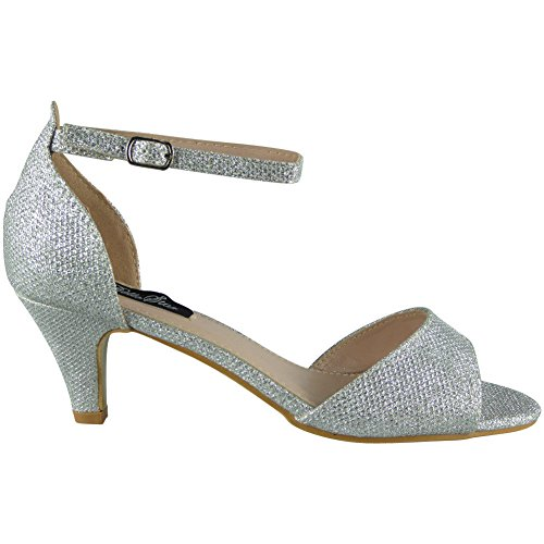 Loud Look Womens Glitter Mid Heel Peeptoe Shoes Party Bridesmaid Wedding Bride Ladies Size 3-8 Silver TCI40f2o