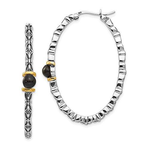 - 925 Sterling Silver 14k 4.5mm Button Black Onyx Oval Hoop Earrings Ear Hoops Set Fine Jewelry Gifts For Women For Her