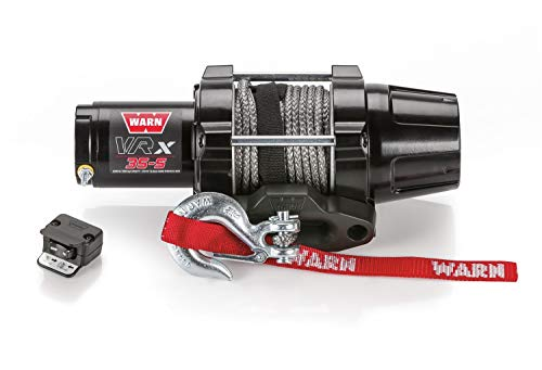 WARN 101030 VRX 35-S Powersports Winch with Handlebar Mounted Switch and Synthetic Rope: 3/16″ Diameter x 50′ Length, 1.75 Ton (3,500 lb) Capacity