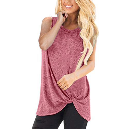 - OrchidAmor Women 2019 Fashion Loose Sleeveless Half Sleeve Shirt Women O-Neck Casual Solid T-Shirt Blouse Tops Watermelon Red