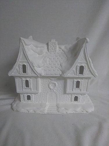 """Santas Castle Village House 9"""" x 9"""" x 5"""" Ceramic Bisque, Ready To Paint"""