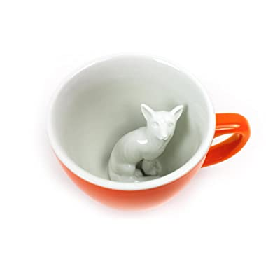 CREATURE CUPS Fox Ceramic Cup (11 Ounce, Red Orange) | Hidden Animal Inside | Holiday and Birthday Gift for Coffee & Tea Lovers
