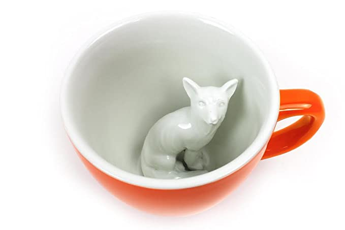 Hidden fox creature coffee cup