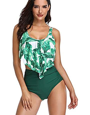 99c6ee4cd Sixyotie Women Bikini Sets High Waisted Halter Swimsuits Flounce Ruffled 2  Pieces Ladies Swimwear Bathing Suits