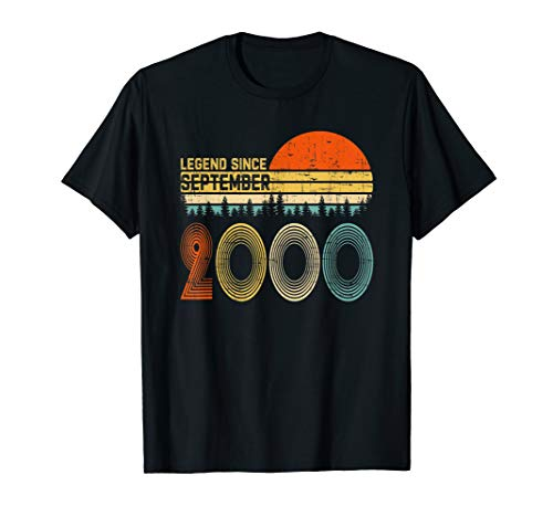 Legend Since September 2000 19th Birthday Gift 19 Yrs Old T-Shirt (Birthday Party Ideas For 19 Year Old Boy)