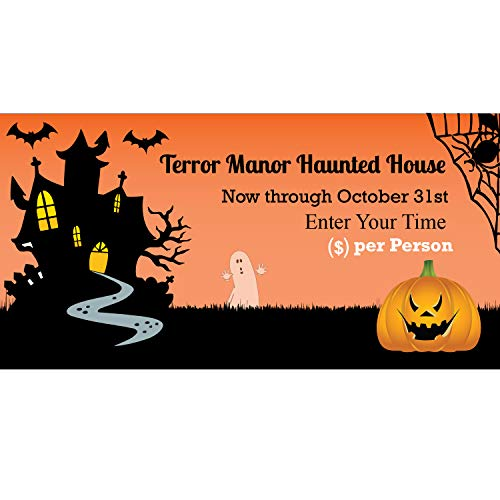 BannerBuzz Halloween Pumpkin Terror Manor Haunted House 11 Oz Vinyl PVC Flex Banner Decoration for Indoor/Outdoor, Home, Door, Party, Yard, Office with Hemmed Edges & Metal Grommets Free (6' X 3') for $<!--$44.89-->