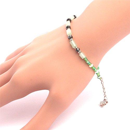 GEM-inside Bracelets Column Aventurine Hematite Glass Pearl Beads Adjustable Handmade 7.5 Inches Fashion Jewellry