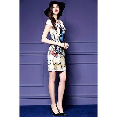 PU&PU Robe Aux femmes Gaine Vintage,Imprimé Col Arrondi Au dessus du genou Polyester , beige , l
