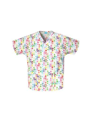 (Cherokee Scrub H.Q Women's V-Neck 2 Pocket Butterfly Dots Print Scrub Top Medium)