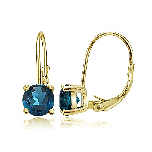 - Yellow Gold Flashed Sterling Silver London Blue Topaz 6mm Round Leverback Earrings