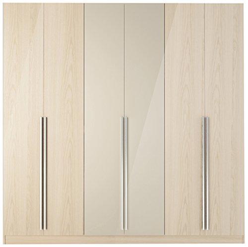 Manhattan Comfort Eldridge 6-Door Wardrobe, Oak Vanilla Gloss and Nude