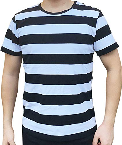Ezsskj Men's Black and White Striped T Shirt pugsley Addams Shirt Stripes Tee Tops Large -