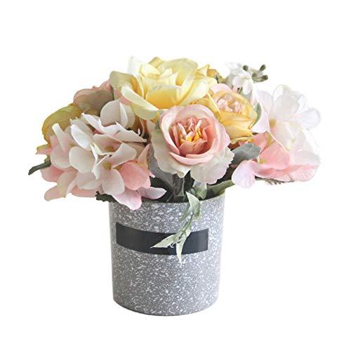 - litymitzromq Artificial Potted Plants Fake Bonsai, 1Pc Potted Artificial Flower Bonsai Garden Office Desktop Wedding Party Decor Faux Fake Flowers Floral Arrangement Yellow