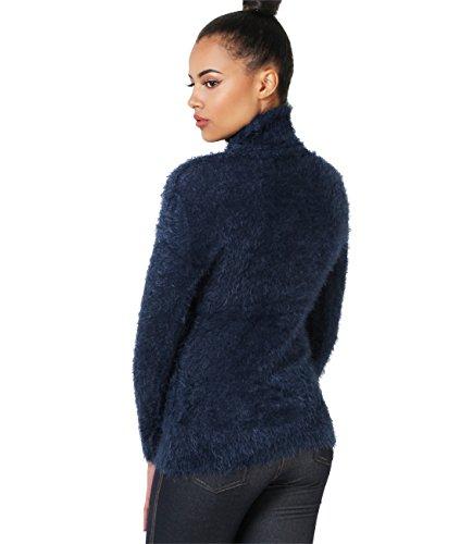 KRISP Jersey Mujer Pelo Cuello Vuelto Suéter Abrigado Punto Cisne Alto Azul Marino