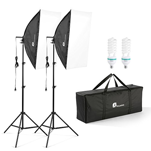 "20""X28"" Softbox Photography Lighting Kit, 700W Continuous Lighting System Photo Studio Equipment Photo Model Portraits Shooting Box 2pcs E27 Video Lighting Bulb"