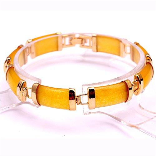 SHG Store Yellow Jade Rectangle Stone Beads Gold Plated Link Bracelet - Yellow Jade Beads Rectangle