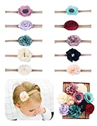 Fancy Clouds Baby Girl Headbands,10 Pack Bow flower for Newborn Infant Toddler