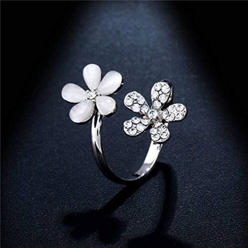 (Chuan Han Fashion Jewelry Opal Opal Ring Fashion Open Flower Ring, Rhinestone, Female, Sweet Wind, Party Flat Ring, Channel Set Plant, Diamond, Platinum Plated, Adjustable)