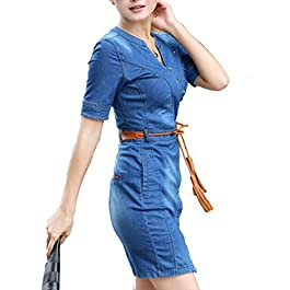 HANMAX Womens' Short Sleeve V Neck Slim Fit Casual Vintage Elegant Midi Denim Summer Dress Jeans Dresses