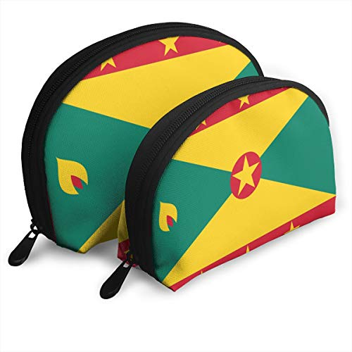 DF039ht20 Flag Of Grenada Shell Shape Zipper Cosmetic Bags,Travel Bag,Makeup Holder Case (2-Pack)