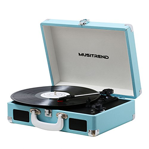 Musitrend Vinyl Record Player Classic Portable Suitcase 3 Speed Stereo Turntable with Built-in Speakers, PC Recorder, Headphone Jack, RCA line out (Blue)