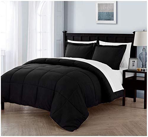 Queen Size BED-IN-A-BAG Reversible in Black / White Luxurious 7 Pc Set w/ Sheets ()