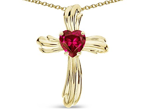 Star K Heart Shape 6mm Created Ruby Ribbed Cross Of Love Pendant Necklace 14k Yellow Gold