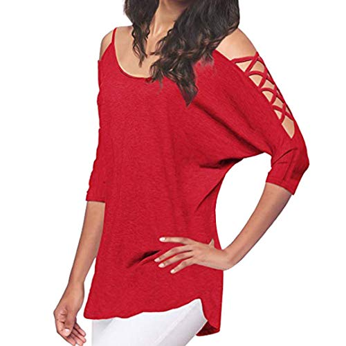 UONQD Women Blouse Casual Hollowed Out Cold Shoulder Half Sleeve Tops(XX-Large,Red) ()