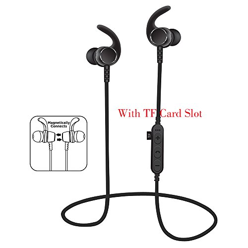 Bluetooth Headphones with TF SD Card Slot,Sweatproof Wireless In Ear Earbuds Headsets Bluetooth 4.2 Noise Cancelling Sports Magnetic Bluetooth Wireless Sports Headset (BLACK)