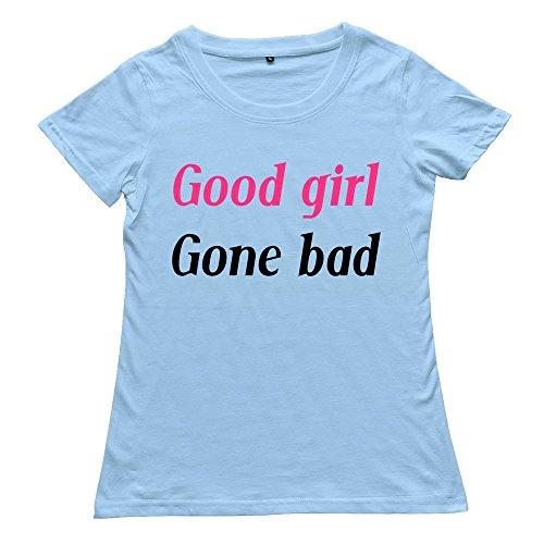 PTHZ Women's Good Girl Gone Cotton T Shirt Tee SkyBlue XXL