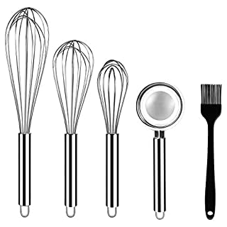 "Stainless Steel Whisks, ONME 3 Pack Kitchen Whisks with Stainless Steel Egg Separator and Silicone Cooking Brush, 8"" 10"" 12"" Balloon Wire Whisk for Blending, Whisking, Beating, Stirring, Set of 5"