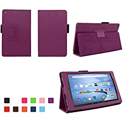 Case for All-New Fire 7 2017 - Premium Folio Case for All-New Fire 7 Tablet with Alexa 7th Generation - (Dark Purple)
