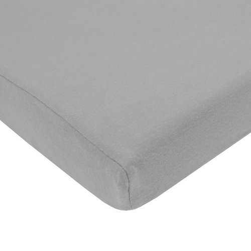 TL Care 100% Cotton Value Jersey Knit Fitted Portable/Mini-Crib Sheet, Gray