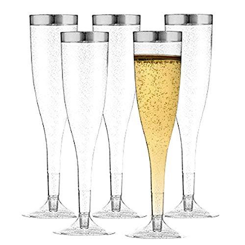 TasteOfQuality Silver Plastic Champagne Flutes - 50-Pcs , Silver Glitter, 6.5 Oz Heavy Duty Wine Glass, Clear Plastic Toasting Glasses, Silver Rim Champagne Flutes, Plastic Wine Glasses for Parties]()