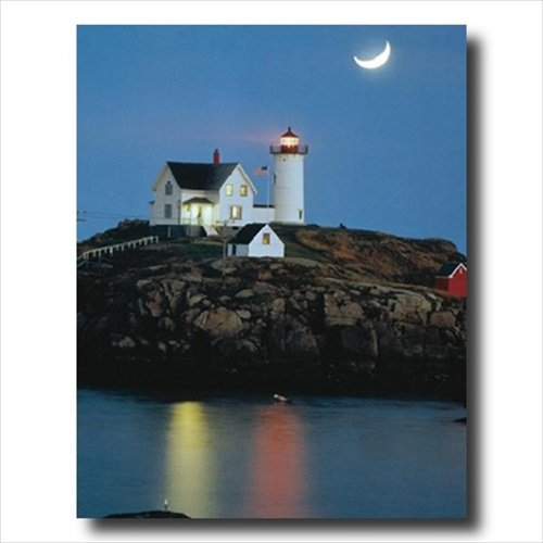 Lighthouse Photo Art (Ocean Lake Lighthouse Moon Landscape Wall Picture 16x20 Art Print)