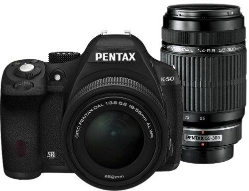 ペンタックス K50 ブラック ダブルズームキット DA L 1855mm F3.55.6 AL WRDA L 55300mm F45.8 ED