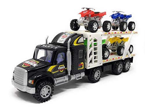 Transporter Truck Toys - Children's Fiction Tow Truck - 4 ATV Car Toys Included - No Batteries Required - Action Vehicles - Ideal Gift for Kids, Boys and Girls ()
