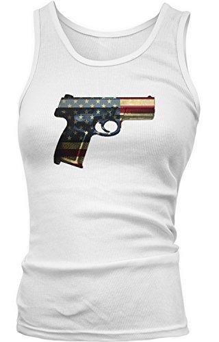 Amdesco Junior's USA Handgun, American Flag Pistol Tank Top, White Medium