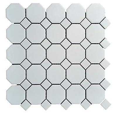 "1 Carton/10 SQFT | White 2"" Octagon Mosaic Tile (Matte)"