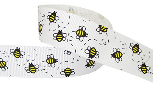 HipGirl Animal Cutie Bee Grosgrain Ribbon for Baby Showers, Hair Bows, Floral Designs, Gift Wrapping (5yd 7/8